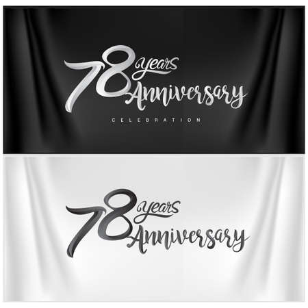 78th Anniversary Celebration Logotype. Anniversary handmade Calligraphy. Vector design for invitation card, banner and greeting card Stock Illustratie