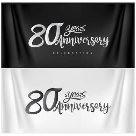 80th Anniversary Celebration Logotype. Anniversary handmade Calligraphy. Vector design for invitation card, banner and greeting card