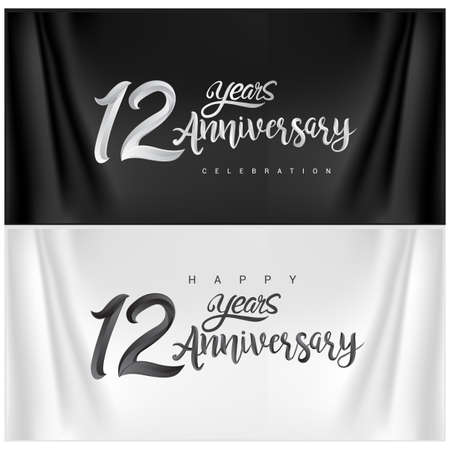 12th Anniversary Celebration Logotype. Anniversary handmade Calligraphy. Vector design for invitation card, banner and greeting card