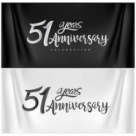 51st Anniversary Celebration Logotype. Anniversary handmade Calligraphy. Vector design for invitation card, banner and greeting card Stock Illustratie