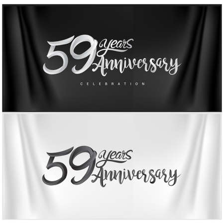 59th Anniversary Celebration Logotype. Anniversary handmade Calligraphy. Vector design for invitation card, banner and greeting card