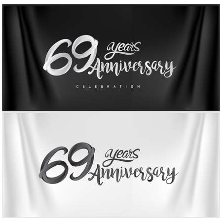 69th Anniversary Celebration Logotype. Anniversary handmade Calligraphy. Vector design for invitation card, banner and greeting card