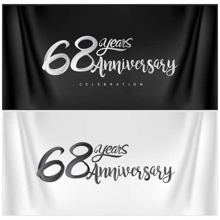 68th Anniversary Celebration Logotype. Anniversary handmade Calligraphy. Vector design for invitation card, banner and greeting card