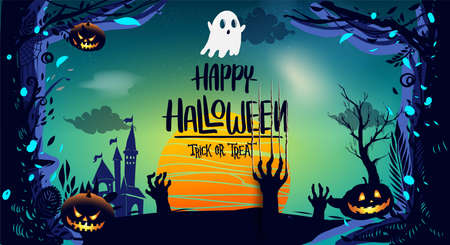Happy Halloween Poster, night background with creepy pumpkins, illustration. vector elements for banner, greeting card Halloween celebration.