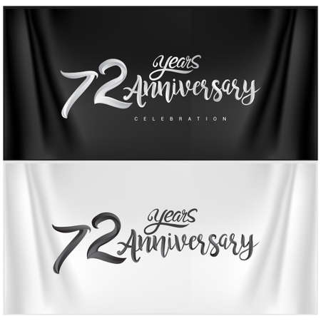 72nd Anniversary Celebration Logotype. Anniversary handmade Calligraphy. Vector design for invitation card, banner and greeting card
