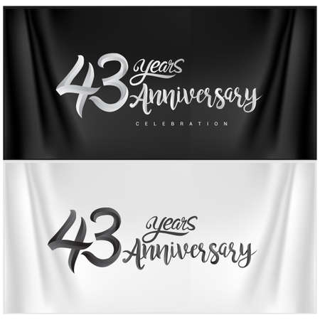 43rd Anniversary Celebration Logotype. Anniversary handmade Calligraphy. Vector design for invitation card, banner and greeting card