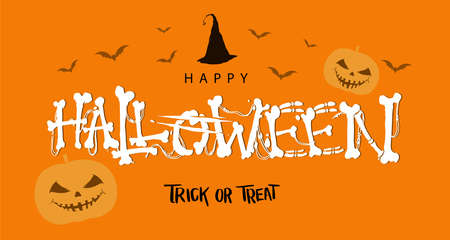 Happy Halloween Text Banner, Halloween calligraphy with witch hat and Halloween doodles for banner, poster, greeting card, party invitation. Isolated illustration. Stock Illustratie