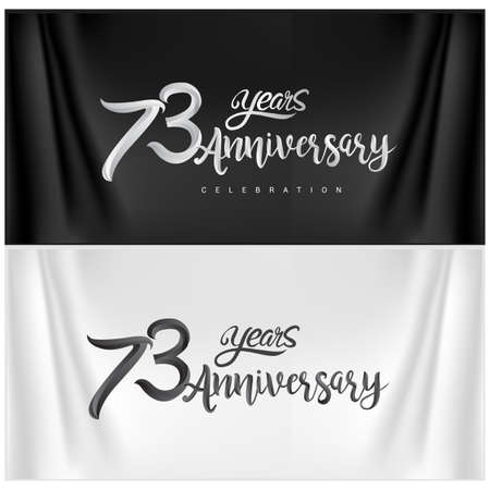73rd Anniversary Celebration Logotype. Anniversary handmade Calligraphy. Vector design for invitation card, banner and greeting card