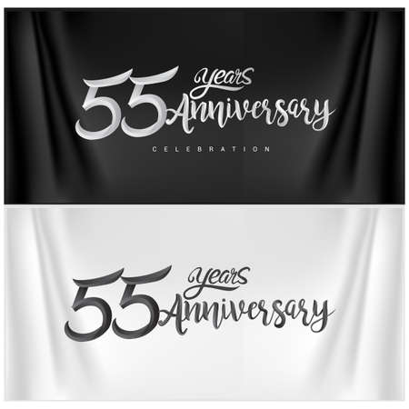 55th Anniversary Celebration Logotype. Anniversary handmade Calligraphy. Vector design for invitation card, banner and greeting card Stock Illustratie