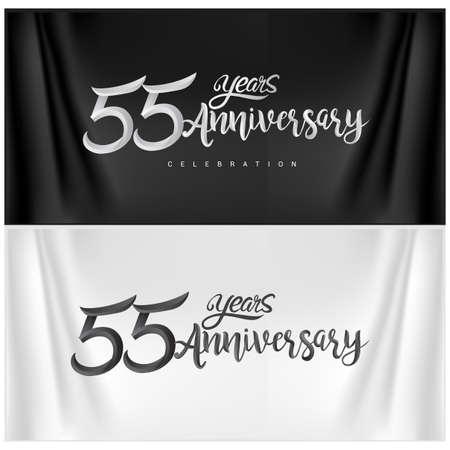 55th Anniversary Celebration Logotype. Anniversary handmade Calligraphy. Vector design for invitation card, banner and greeting card Illusztráció