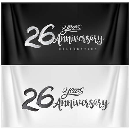 26th Anniversary Celebration Logotype. Anniversary handmade Calligraphy. Vector design for invitation card, banner and greeting card