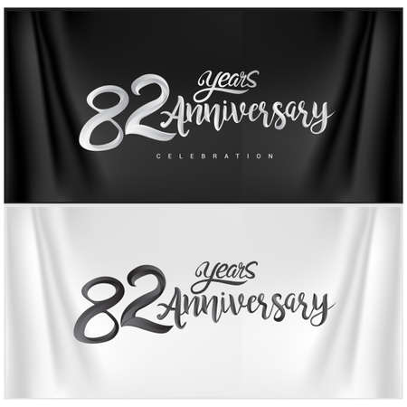 82nd Anniversary Celebration Logotype. Anniversary handmade Calligraphy. Vector design for invitation card, banner and greeting card Stock Illustratie