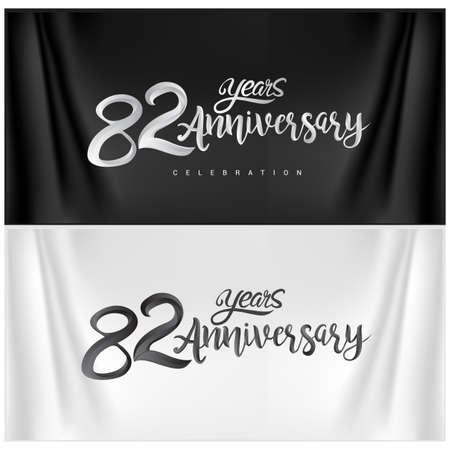 82nd Anniversary Celebration Logotype. Anniversary handmade Calligraphy. Vector design for invitation card, banner and greeting card Illusztráció