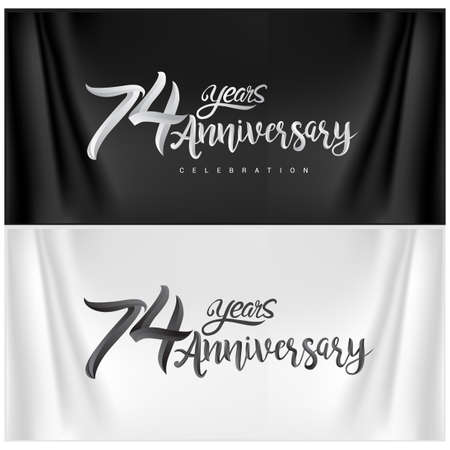74th Anniversary Celebration Logotype. Anniversary handmade Calligraphy. Vector design for invitation card, banner and greeting card