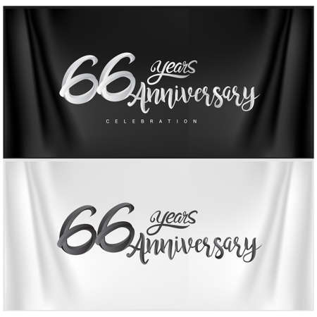 66th Anniversary Celebration Logotype. Anniversary handmade Calligraphy. Vector design for invitation card, banner and greeting card