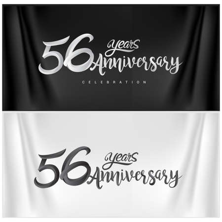 56th Anniversary Celebration Logotype. Anniversary handmade Calligraphy. Vector design for invitation card, banner and greeting card