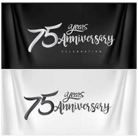 75th Anniversary Celebration Logotype. Anniversary handmade Calligraphy. Vector design for invitation card, banner and greeting card