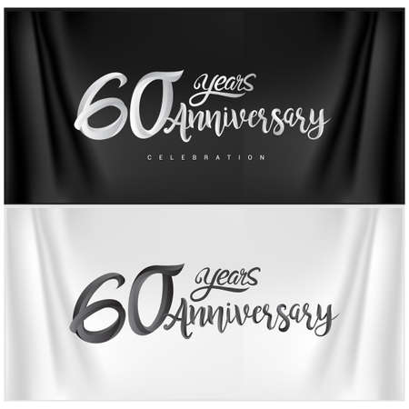 60th Anniversary Celebration Logotype. Anniversary handmade Calligraphy. Vector design for invitation card, banner and greeting card