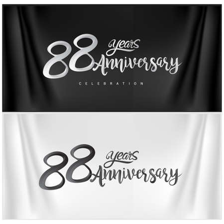 88th Anniversary Celebration Logotype. Anniversary handmade Calligraphy. Vector design for invitation card, banner and greeting card