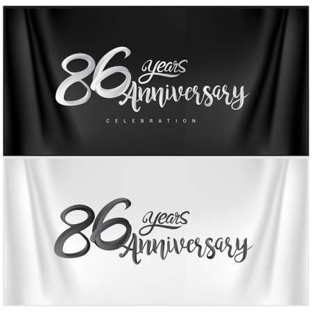 86th Anniversary Celebration Logotype. Anniversary handmade Calligraphy. Vector design for invitation card, banner and greeting card Stock Illustratie