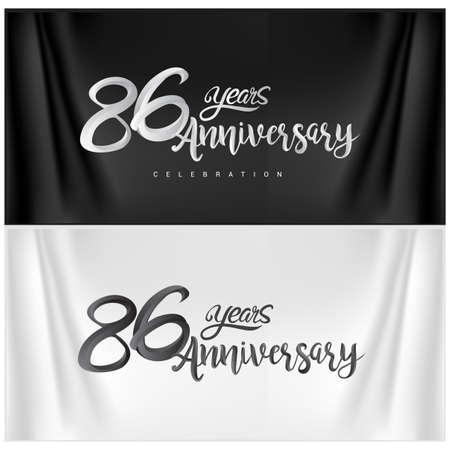 86th Anniversary Celebration Logotype. Anniversary handmade Calligraphy. Vector design for invitation card, banner and greeting card Illusztráció