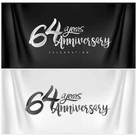 64th Anniversary Celebration Logotype. Anniversary handmade Calligraphy. Vector design for invitation card, banner and greeting card