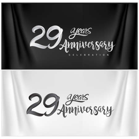 29th Anniversary Celebration Logotype. Anniversary handmade Calligraphy. Vector design for invitation card, banner and greeting card