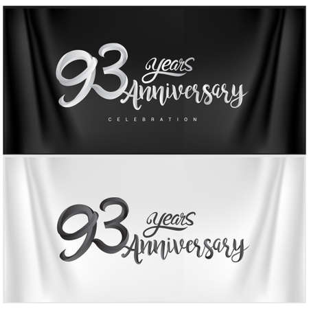 93rd Anniversary Celebration Logotype. Anniversary handmade Calligraphy. Vector design for invitation card, banner and greeting card Stock Illustratie