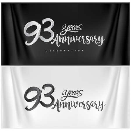 93rd Anniversary Celebration Logotype. Anniversary handmade Calligraphy. Vector design for invitation card, banner and greeting card Illusztráció