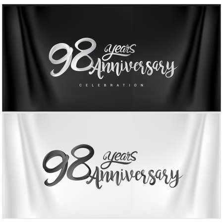 98th Anniversary Celebration Logotype. Anniversary handmade Calligraphy. Vector design for invitation card, banner and greeting card Stock Illustratie