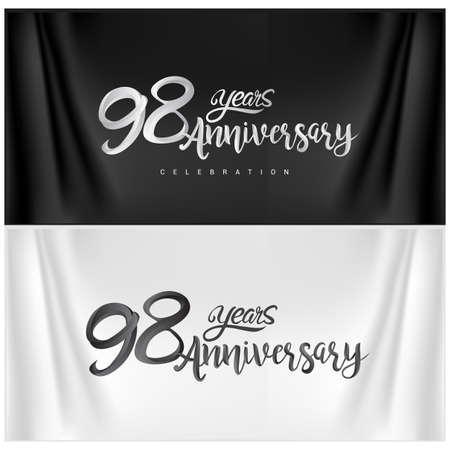 98th Anniversary Celebration Logotype. Anniversary handmade Calligraphy. Vector design for invitation card, banner and greeting card Illusztráció