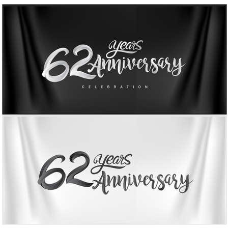 62nd Anniversary Celebration Logotype. Anniversary handmade Calligraphy. Vector design for invitation card, banner and greeting card