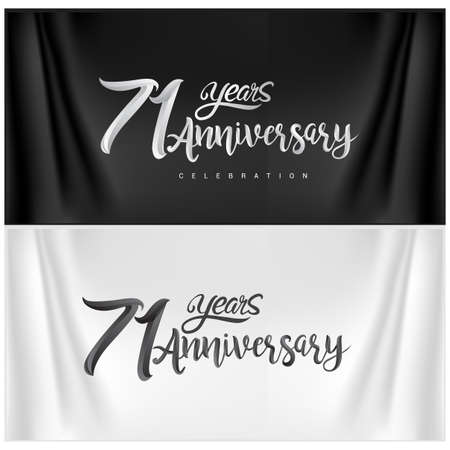 71st Anniversary Celebration Logotype. Anniversary handmade Calligraphy. Vector design for invitation card, banner and greeting card