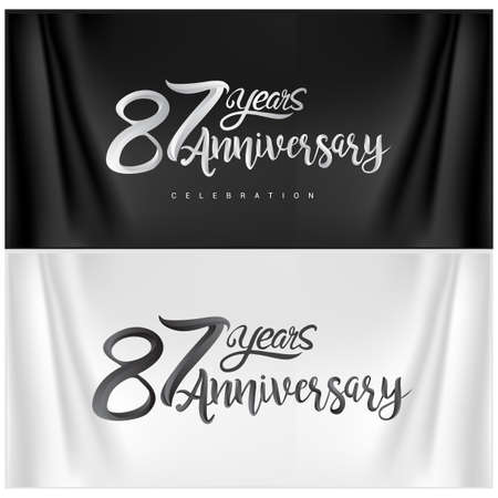 87th Anniversary Celebration Logotype. Anniversary handmade Calligraphy. Vector design for invitation card, banner and greeting card Stock Illustratie