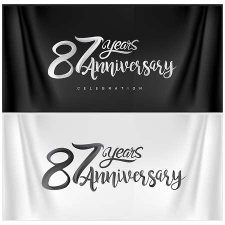87th Anniversary Celebration Logotype. Anniversary handmade Calligraphy. Vector design for invitation card, banner and greeting card Illusztráció