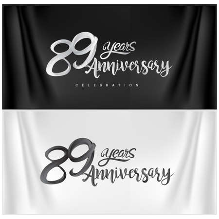 89th Anniversary Celebration Logotype. Anniversary handmade Calligraphy. Vector design for invitation card, banner and greeting card