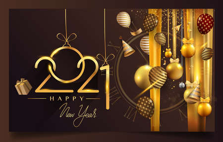 Happy New Year 2021 - New Year Shining background with gold clock and glitter. 矢量图像