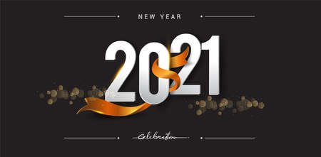 Happy New Year 2021 with glitter isolated on shiny background, text design gold colored, vector elements for calendar and greeting card.