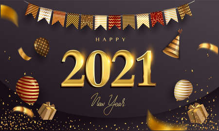 Happy New Year 2021 - New Year Shining Background with Gold Ribbon and Glitter, Elegant Design.
