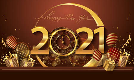 Happy New Year 2021 - New Year Shining Background with Gold Clock and Glitter.