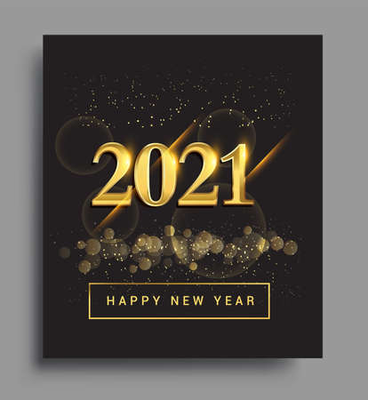 Happy New Year 2021 with glitter isolated on black background, text design gold colored, vector elements for calendar and greeting card.