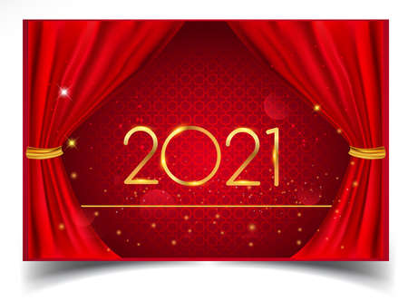 Happy New Year 2021 elegant design Isolated on Realistic Red Curtain, Vector Design for Greeting Card, Poster and Invitation Card 矢量图像