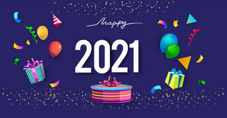Happy new year 2021 typography vector design for greeting cards and poster with balloon, confetti, design Vector Illustration