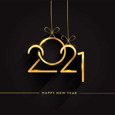 Happy New Year 2021 - New Year Shining background, text design gold colored, vector elements for calendar and greeting card. Vektoros illusztráció