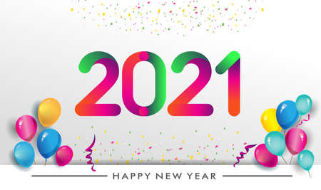 Happy new year 2021 typography vector design for greeting cards and poster with balloon, confetti, design template for new year celebration.