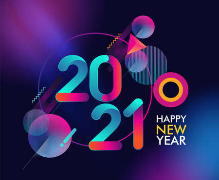 Happy New Year 2021 colorful abstract design, vector elements for calendar and greeting card. 矢量图像