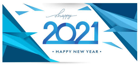 Happy new year 2021 Greeting card, 2021 modern logotype with geometric background, vector illustration