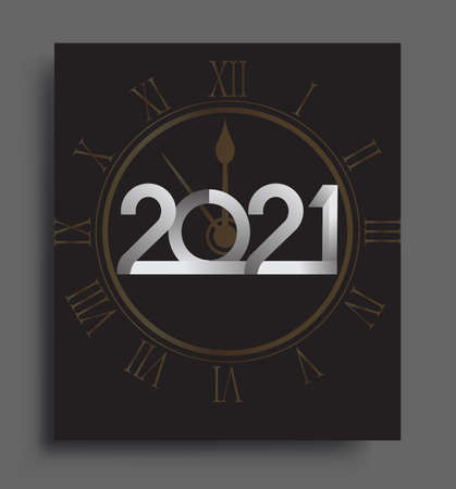 Happy New Year 2021 text design white colored isolated on black background, vector elements for calendar and greeting card. 矢量图像