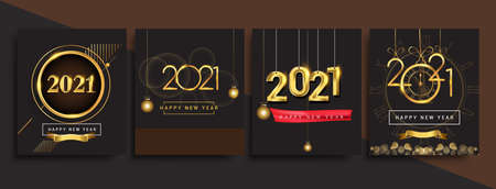 Happy New Year 2021 invitation card with glitter isolated on black background, text design gold colored, vector sets for calendar and greeting card.