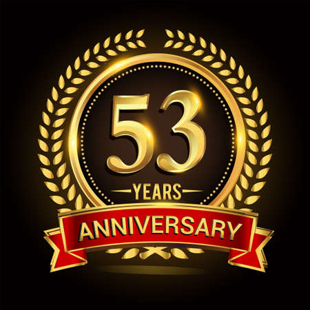 53rd golden anniversary logo, with shiny ring and red ribbon, laurel wreath isolated on black background, vector design